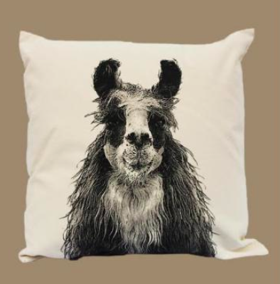 Eric & Chrisopher Llama throw pillow, made in USA