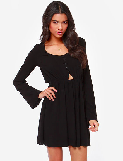 Lulu's cut out black long sleeve dress, made in USA!