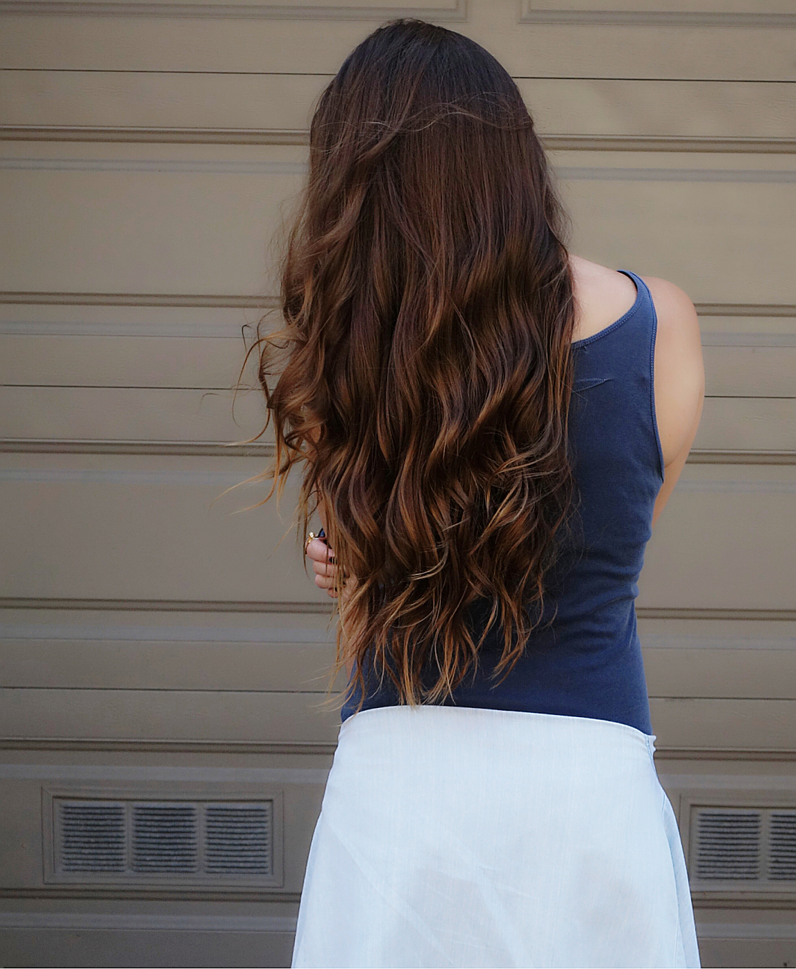 Long natural hair. Stateside tank dress