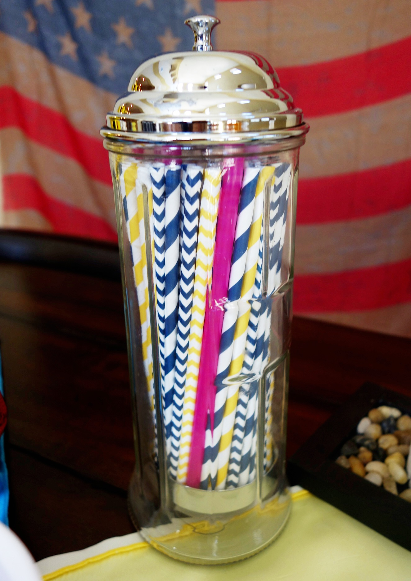San Diego Charger color straws! With a few pink ones for Breast Cancer Awareness