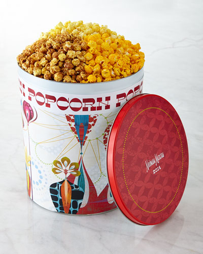 Popcorn Tin with 3 different flavors. Made in USA, under 59 bucks! Unique holiday gift idea.