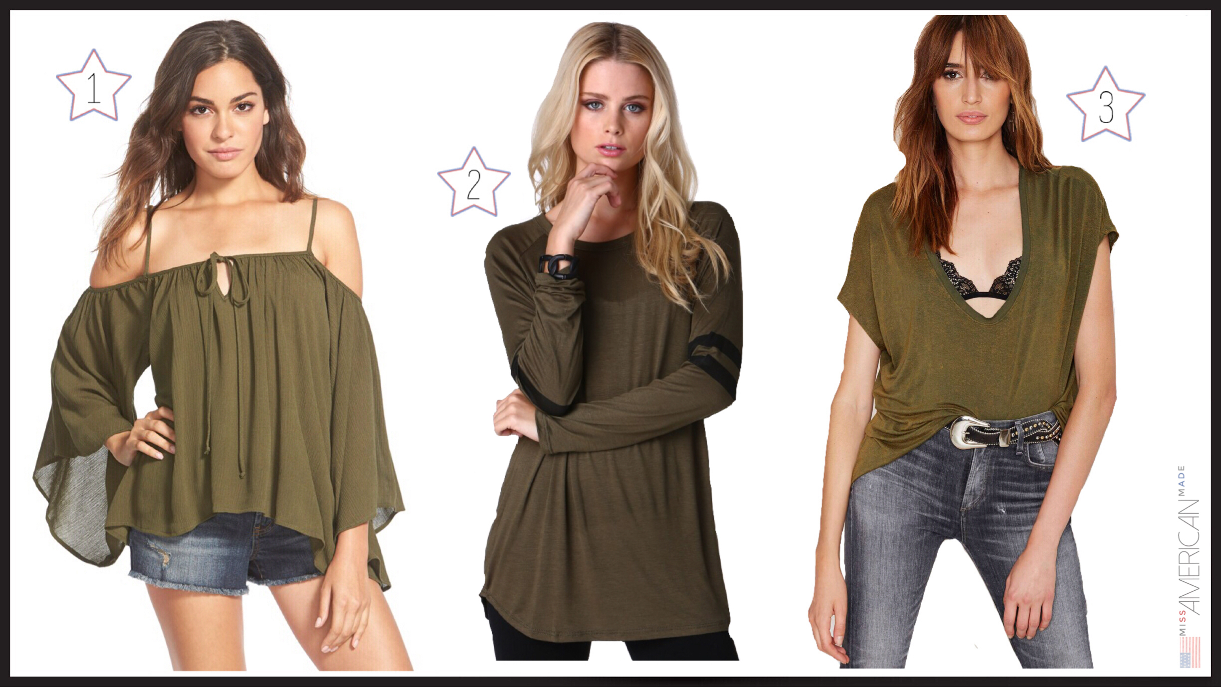 Made in USA Olive colored tops